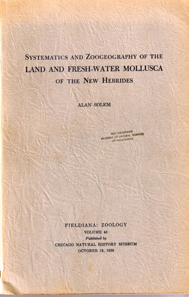 Systematics and Zoogeoraphy of the Land and Fresh-Water Mollusca of the New Hebrides